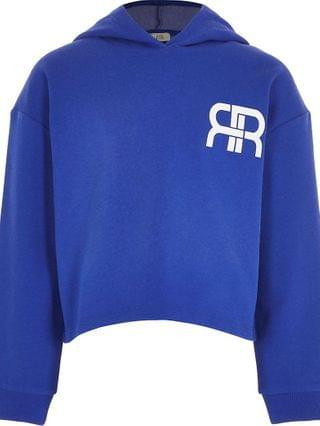 KIDS Age 13+ girls blue RR chest logo hoodie