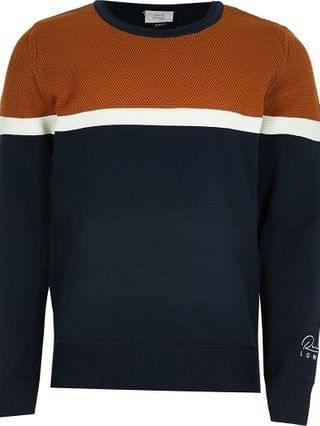 KIDS navy colour block jumper