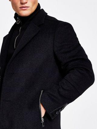 MEN Dark grey wool zip pocket overcoat