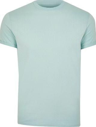 MEN Green rolled sleeve slim fit t-shirt
