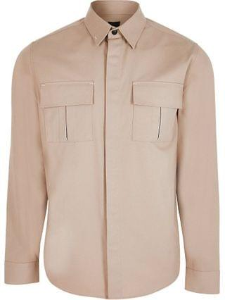 MEN Beige double chest pocket long sleeve shirt
