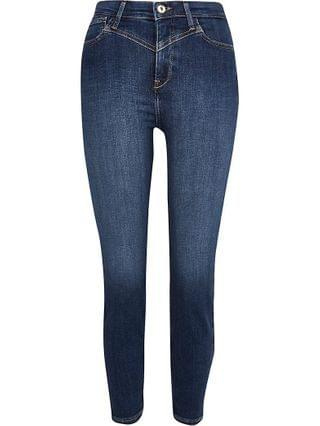 WOMEN Petite blue high rise skinny jeans