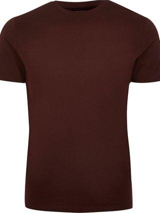 MEN Dark red short sleeve slim fit t-shirt