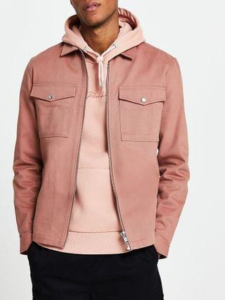 MEN Pink long sleeve shacket