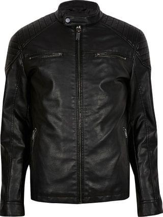 MEN Big & Tall black faux leather racer jacket