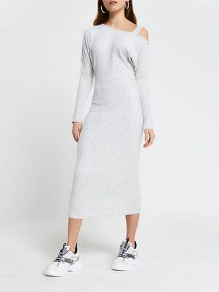 WOMEN Grey off shoulder midi dress