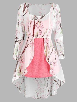 WOMEN Floral Print Lace-up High Low Chiffon Blouse and Heathered Tank Top