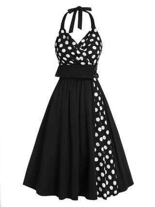 WOMEN Polka Dot Print Halter Buckle Strap Vintage Dress