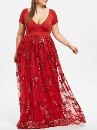 WOMEN Plus Size Floral Sequined Maxi Prom Dress