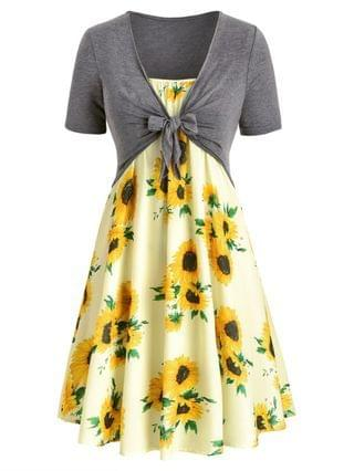 WOMEN Plus Size Sunflower Print Knotted Two Piece Dress