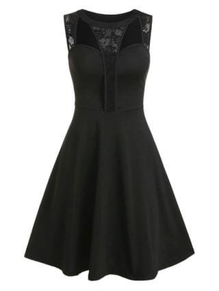 WOMEN Floral Lace Hollow Out Fit And Flare Dress