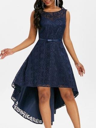 WOMEN Lace V Back High Low Party Dress