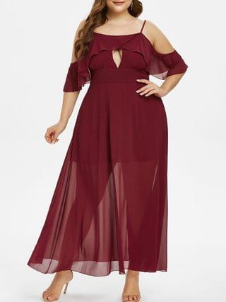 WOMEN Plus Size Chiffon Keyhole Cold Shoulder Flounce Long Prom Dress