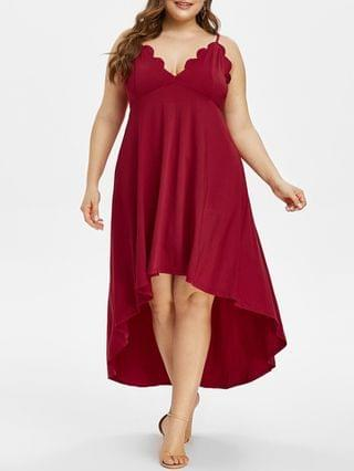 WOMEN Plus Size High Low Scalloped Maxi Party Dress