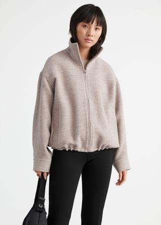 WOMEN Wool Blend Zip Jacket