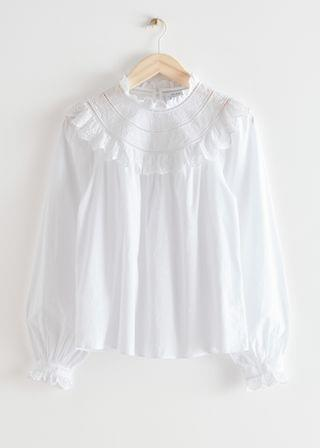WOMEN A-Line Ruffle Embroidery Blouse