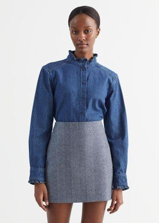 WOMEN Ruffled Denim Shirt