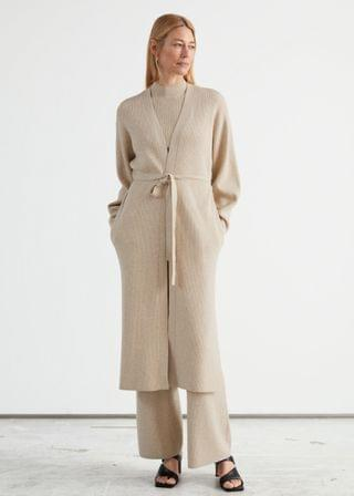 WOMEN Long Belted Knit Cardigan