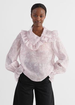 WOMEN Sheer Ruffled Shirt