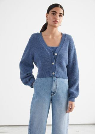 WOMEN Cropped Boxy Knit Cardigan