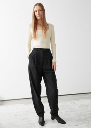 WOMEN Tapered Wool Blend Press Crease Trousers