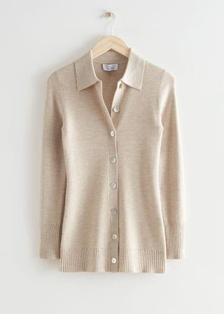 WOMEN Long Fitted Rib Knit Cardigan