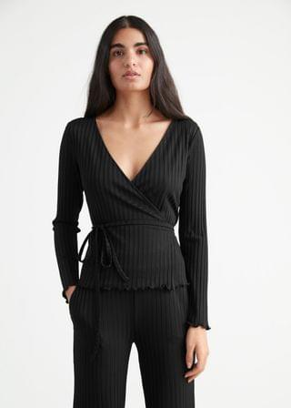 WOMEN Fitted Ribbed Wrap Top