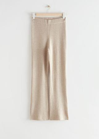 WOMEN Flared Rib Knit Trousers