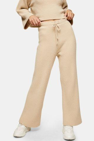 WOMEN Knitted Soft Ribbed Wide Leg Pants