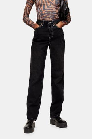 WOMEN Washed Black Buckle Carpenter Jeans