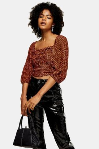 WOMEN Red Heart Ruched Cropped Blouse