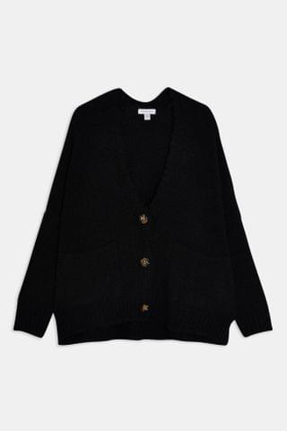 WOMEN Black Oversized Button Knitted Cardigan With Wool