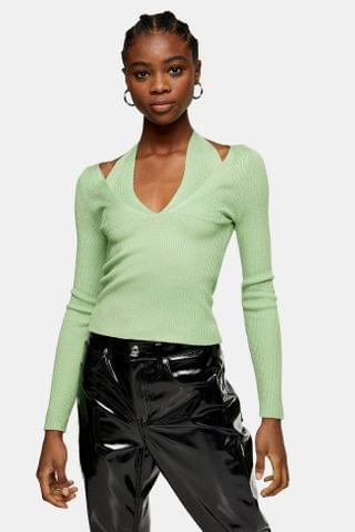 WOMEN Pale Green Strappy Halter Neck Cut Out Knitted Top