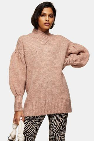 WOMEN Rose Pink Brushed Bell Sleeve Knitted Sweater