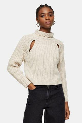 WOMEN CONSIDERED Spliced Ribbed Roll Neck Knitted Sweater With Wool