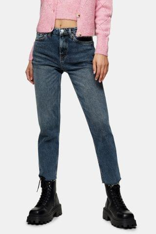 WOMEN Smoke Blue Raw Hem Straight Jeans