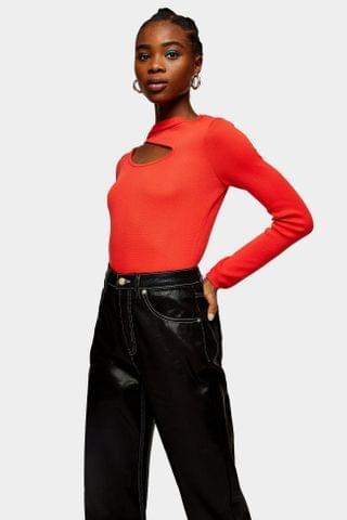 WOMEN Red Cut Out Knitted Top