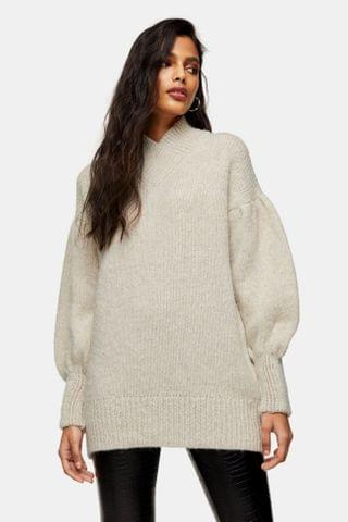 WOMEN Oat Brushed Bell Sleeve Knitted Sweater