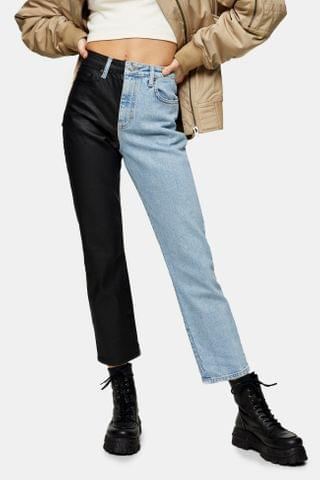WOMEN Bleach Color Block Straight Jeans