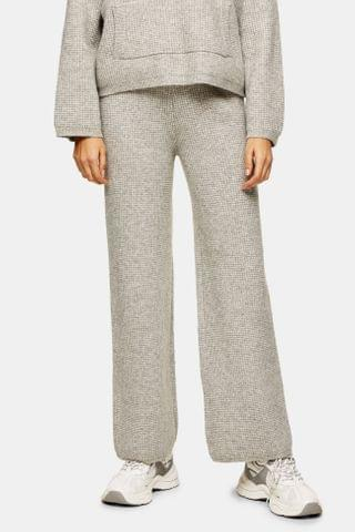 WOMEN CONSIDERED Grey Waffle Wide Leg Knitted Pants