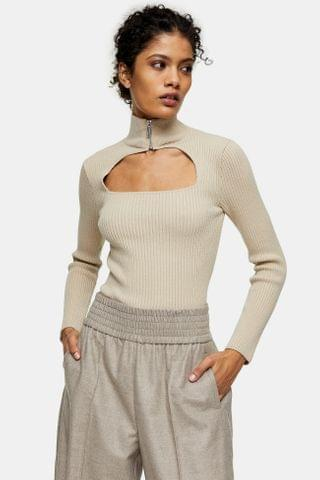 WOMEN Stone Cut Out Zip Knitted Top