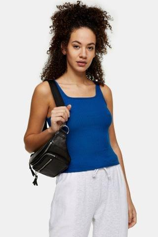 WOMEN Blue Square Neck Ribbed Tank Top