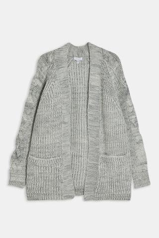 WOMEN Gray Cable Sleeve Knitted Cardigan