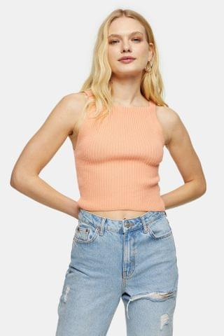 WOMEN Apricot Square Neck Knitted Tank