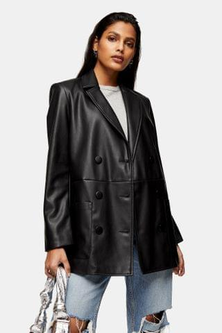 WOMEN Black PU Leather Look Double Breasted Blazer