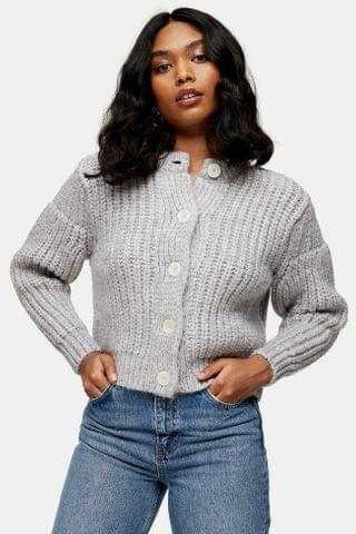 WOMEN Grey Knitted Pearl Button Cardigan