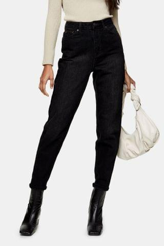 WOMEN Washed Black Mom Tapered Jeans