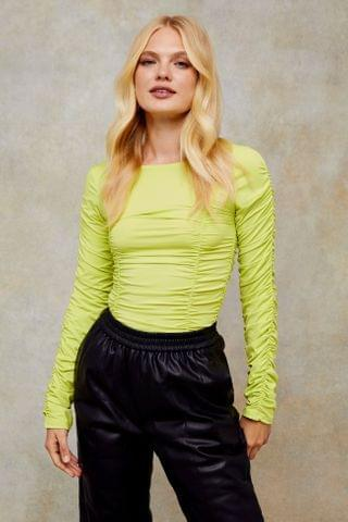 WOMEN Yellow Long Sleeve Ruched Top