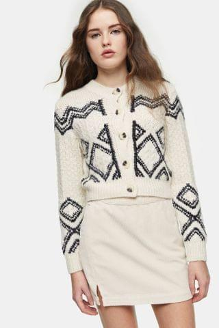 WOMEN Black And White Pattern Cropped Knitted Cardigan