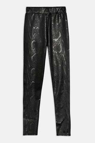 WOMEN Black Snake Leather Look Leggings